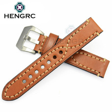 HENGRC Watchbands 22mm 24mm Genuine Leather Watch Strap Women Men Manual Cowhide Band Silver Black Buckle все цены