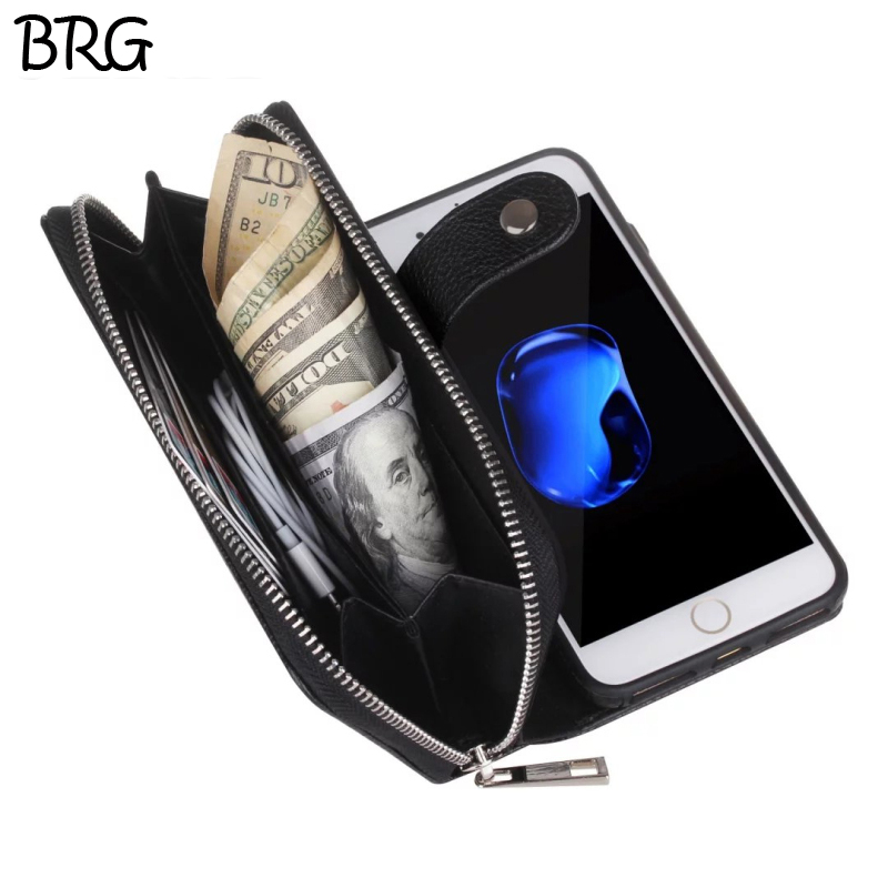 BRG Multi Function Zip Wallet Mobile Phone bags For iPhone 5 6 6plus Fold 2 in 1 Magneti ...