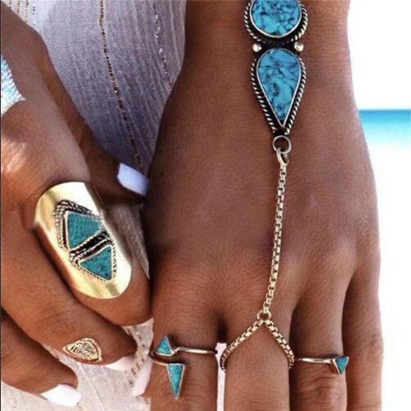 Boho Style Pierced Blue Stone Finger Ladies Bracelets Muti Chains Tassel Bracelets For Women Statement Jewelry Dropshipping R5