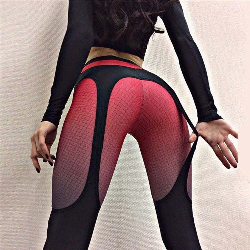 חותלות תחבושת אופנה טלאים של נשים מכנסיים ספורט מכנסיים Slim חותלות פאנק רוק סקסי לדחוף את שלל