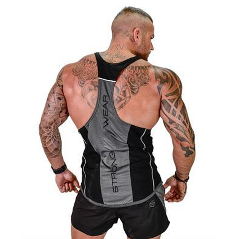 Gyms Bodybuilding Men   Tank     Top   Splice Workout Brand Clothing Print Fitness Vest Stringer Sportswear Undershirt   Tops   High Quality