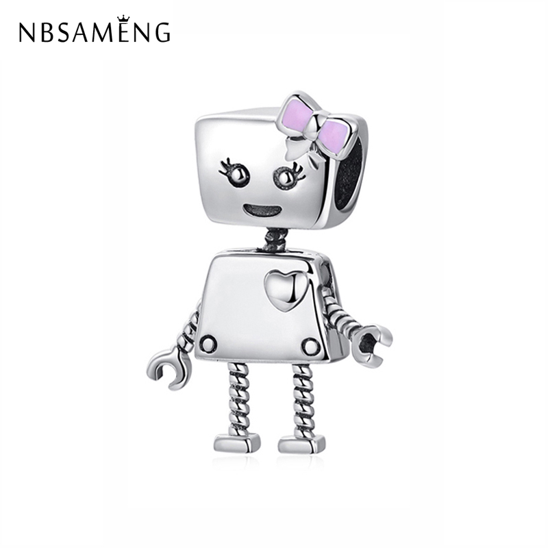 New Original 100% 925 Sterling Silver Charm Bead Bot Charms Bow Love Heart Robot Pendant Fit Pandora Bracelets Women DIY Jewelry strollgirl car keys 100% sterling silver charm beads fit pandora charms silver 925 original bracelet pendant diy jewelry making