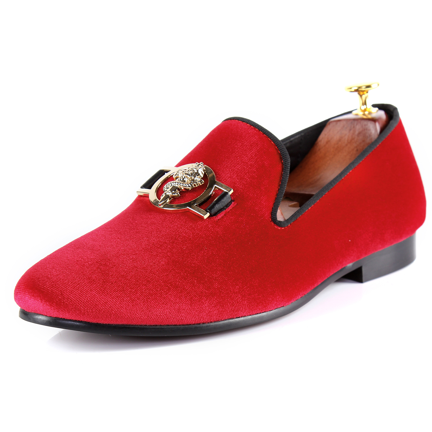 Harpelunde Men Velvet Slippers Buckle Strap Flat Shoes Red Driving Loafers Size 7-14 harpelunde buckle men wedding shoes red velvet dress loafers strap flats shoes size 7 14