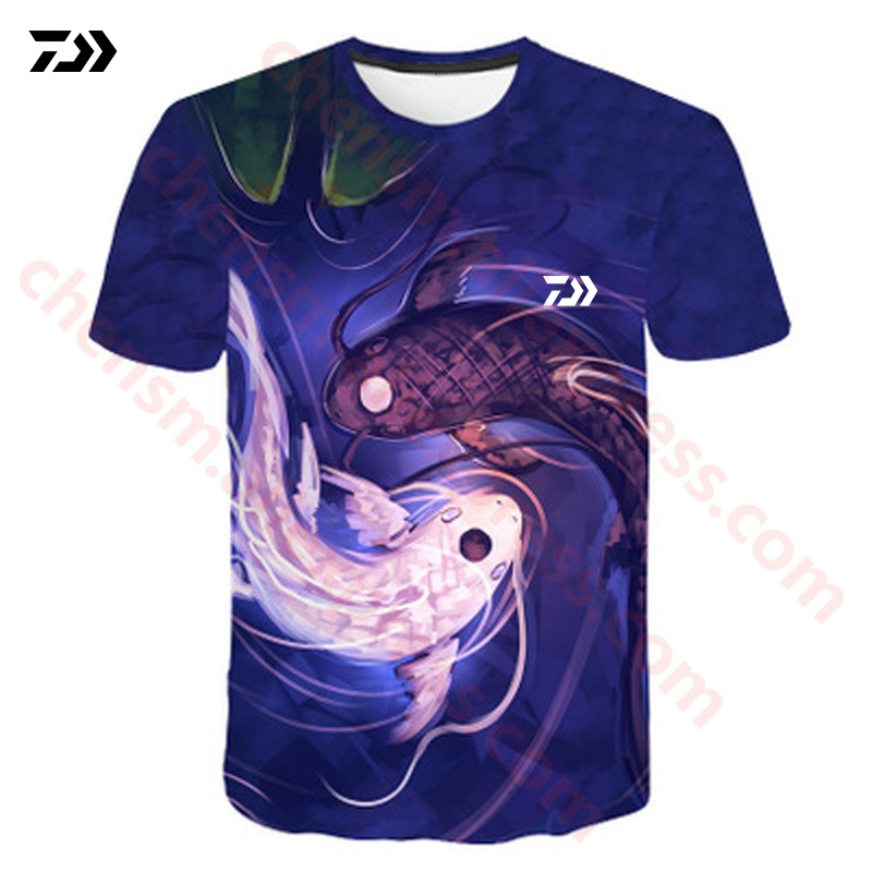 DAIWA T Shirt Summer Man Short Sleeve Fishing Clothing Outdoor Sport Breathable Fishing Clothes Men Beach Printed T-shirt Top