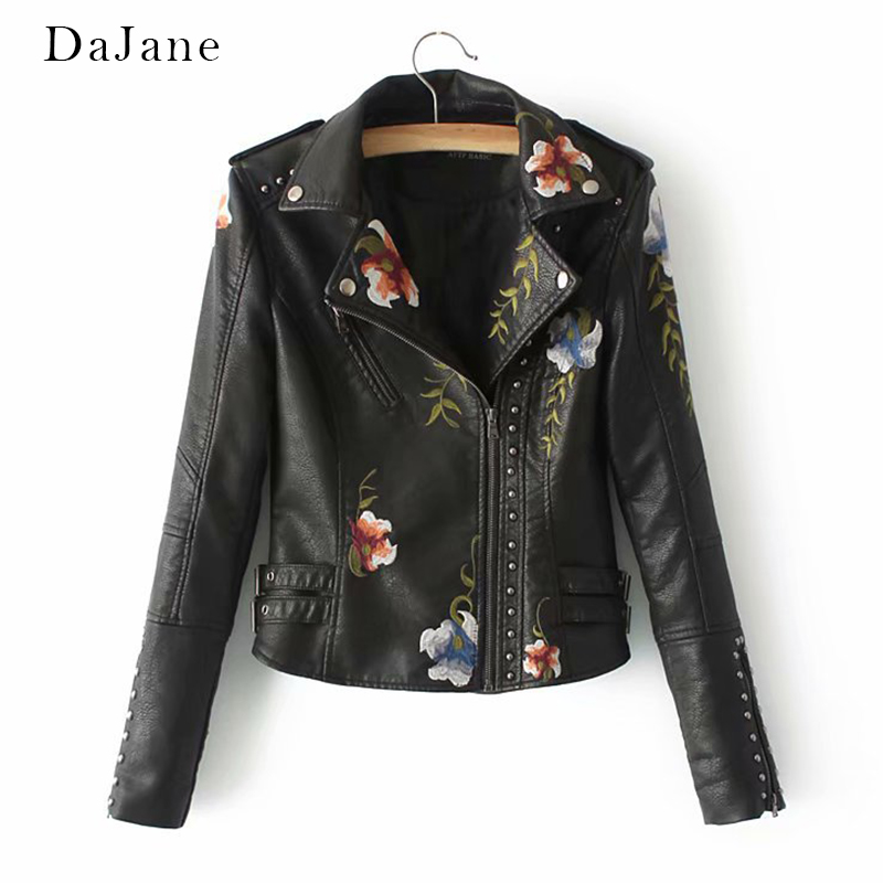 Autumn Winter New women's long-sleeved Embroidery PU   Leather   Motorcycle Coat Manufacturers   Leather   Jacket Women