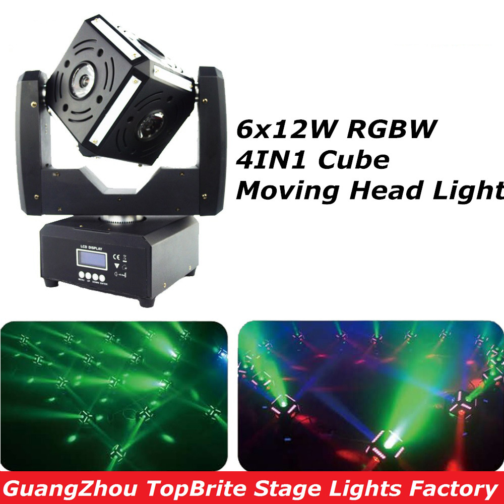 Free Shipping Hot Sales 6x12W 4IN1 RGBW Led Cube Moving Head Light - Commercial Lighting