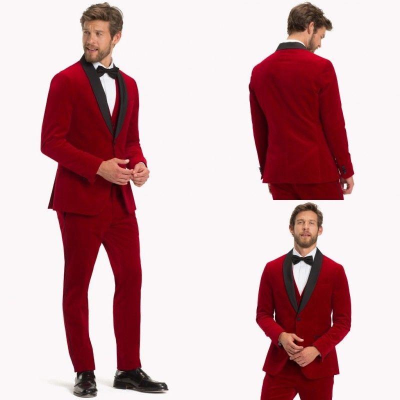 Red Velvet Men's Prom Wedding Tuxedos Shawl Lapel 3 Piece Groom Dinner Suits