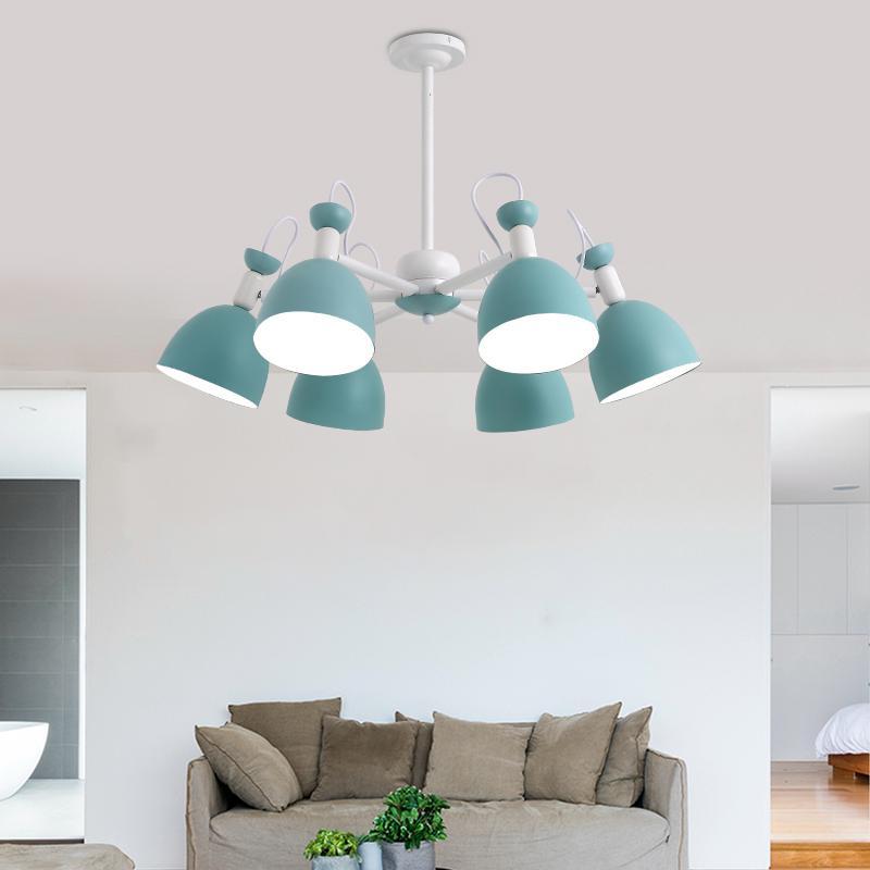 Apartamento de hierro azul lámpara techo accesorios para adolescentes dormitorio chico es iluminación escaparate juegos lámpara sombra mini E27 lustres - 4