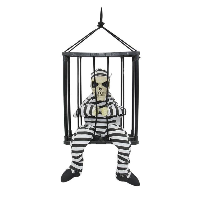 motion sensor hanging caged animated jail prisoner skeleton halloween terror decoration flashing light up prop toy