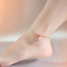 Acacia 925 Silver Anklet girls rose gold plated 18K Korean fashion lock bell ring jewelry