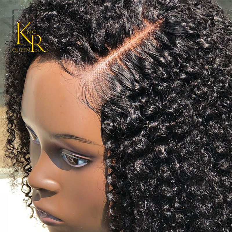 AfroKinky Curly Lace Front Human Hair Wigs With Pre Plucked Brazilian Remy Hiar 13 4Lace Front