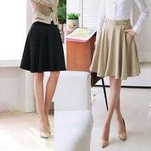 Новая мода весна лето женская повседневная юбка размера плюс юбка высокая талия плиссированные юбки женские бежевые черные белые S-6XL