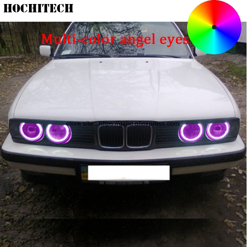 HochiTech For BMW E30 E32 E34 car styling RGB Multi-color LED Demon Angel Eyes Kit Halo Ring Day Light DRL with a remote control hochitech rgb multi color halo rings kit car styling for bmw 3 series e90 05 08 halogen headlight angel eyes wifi remote control