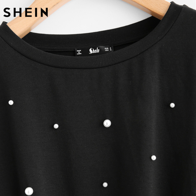 Women Pearl Beaded Knot Front Cute Tee Shirt Black Casual T shirt