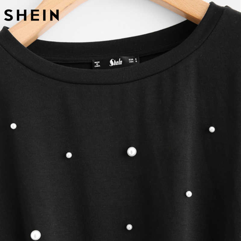 cabb86d3d8 ... SHEIN Pearl Beaded Knot Front Cute Tee Shirt Black Casual T shirt for  Women Long Sleeve ...