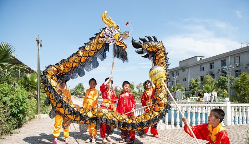 Black gold children size CHINESE DRAGON DANCE Gold plated 10.3Folk ...