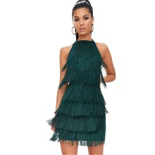 Vintage Vestido 1920s Flapper Girl Fancy Dress 2019 Great Gatsby Dress Costumes Slash Neck Tiered Fringe Swing Party Dress