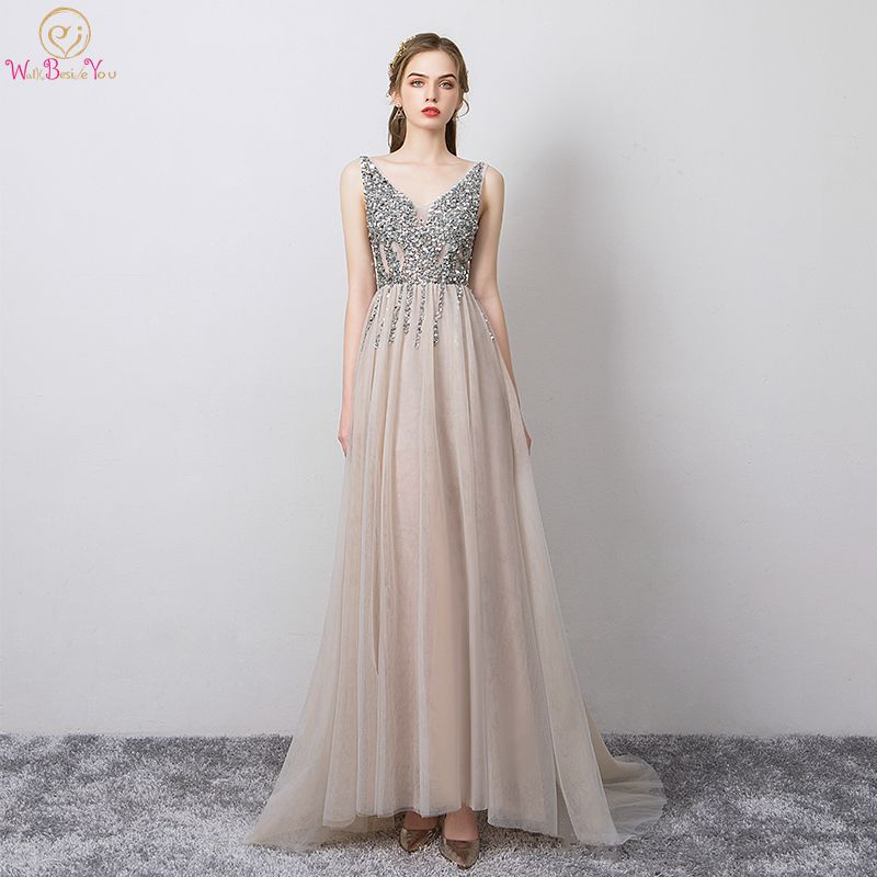 Beaded   Prom     Dresses   Long Gray 2019 V neck Tulle Transparent High Split Backless Sweep Train Sleeveless Evening Gowns vestido