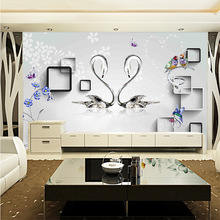 Modern personalized creative 3D wallpapers couple of swan wall paper birds flower solid borders household papel de parede decor