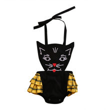 Emmababy Newborn Cotton blend Cute black cartoon cat bodysuit Infant Girls Clothes Ruffles Baby Girl bodysuits Cake Sunsuit(China)