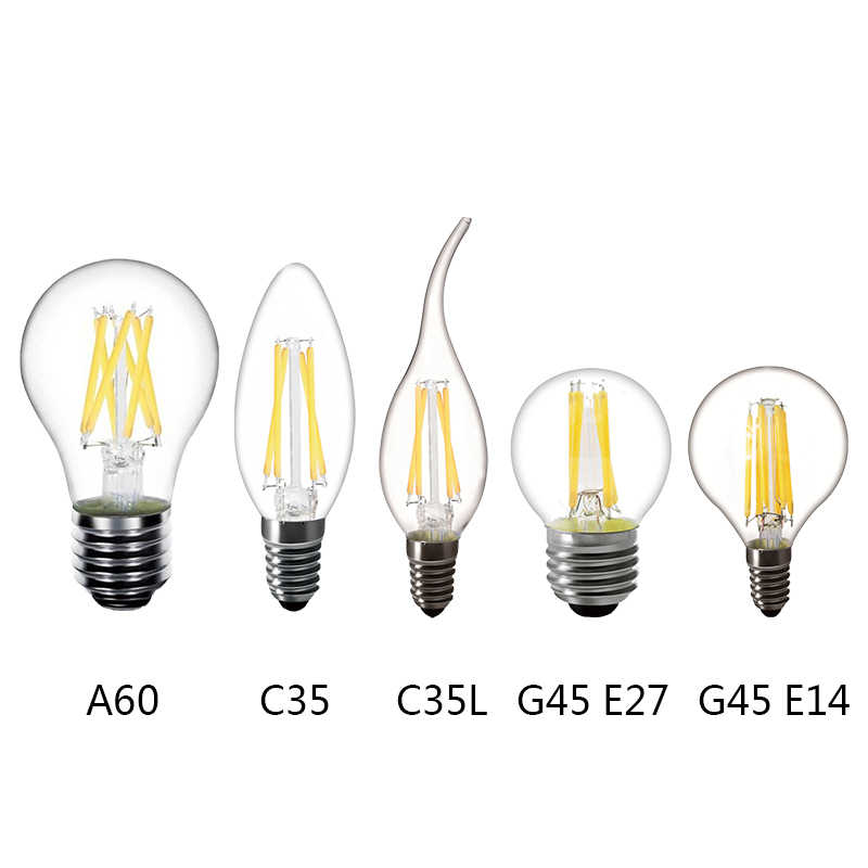 2W 4W 6W Edison vintage bulb LED Filament lamp E14 LED E27 Filament Bulb lamp Bulbs 220V LED E14 C35 E27 A60 decoration
