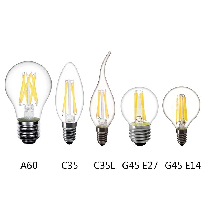 2W 4W 6W Edison vintage bulb LED Filament lamp E14 LED E27 Filament Bulb lamp Bulbs 220V LED E14 C35 E27 A60 decoration dimmable led filament candle light bulb e14 220v 240v 2w 4w 6w c35 c35l vintage edison bulb for chandelier cold warm white