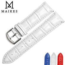MAIKES  Factory Direct Sale Price New Model Genuine Leather For Watches White Red Blue  Watch Strap Leisure Design Watch band white ceramics band design mens leisure watch