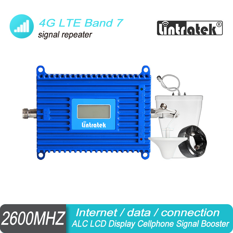 Lintratek AGC 70dB 4G LTE Band 7 2600 MHz Cellphone Signal Booster FDD 2600 Repeater LCD Display Amplifier 4G Internet Kit S7-1