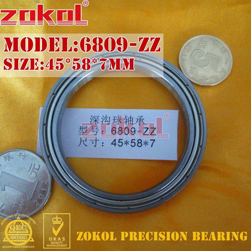 ZOKOL 6809 ZZ Bearing 6809 ZZ RS  6809-2RS 6809-ZZ 6809Z Deep Groove Ball Bearing 45*58*7mm
