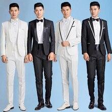 Male costume homme slim suit men stage formal dress men's clothing banquet suits terno masculino men suit fashion black white