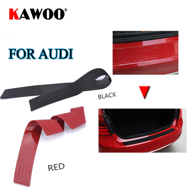 KAWOO For Audi A1 A4 A3 A6 A5 A8 Q5 Q7 TT S5 S6 S8 RS4 RS6 Rubber Rear Guard Bumper Protect Trim Cover Sill Mat Pad Car Styling