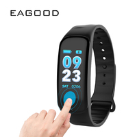 EAGOOD 3D Smart Color Screen Bracelet Sports Health Monitoring Bluetooth Bracelet Alarm Clock Music Control Calls and SMS Remind