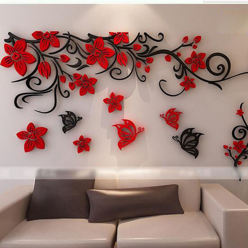 Special acrylic crystal solid wall post sitting room sofa 3 d TV setting wall flowers rattan cane wall stick a joy