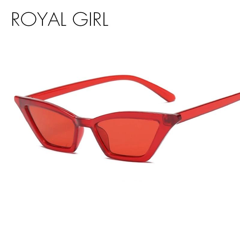 f59131137fa4 ROYAL GIRL Small Sunglasses Women Vintage Retro Cat Eye Black Red Frame  Glasses lentes de sol