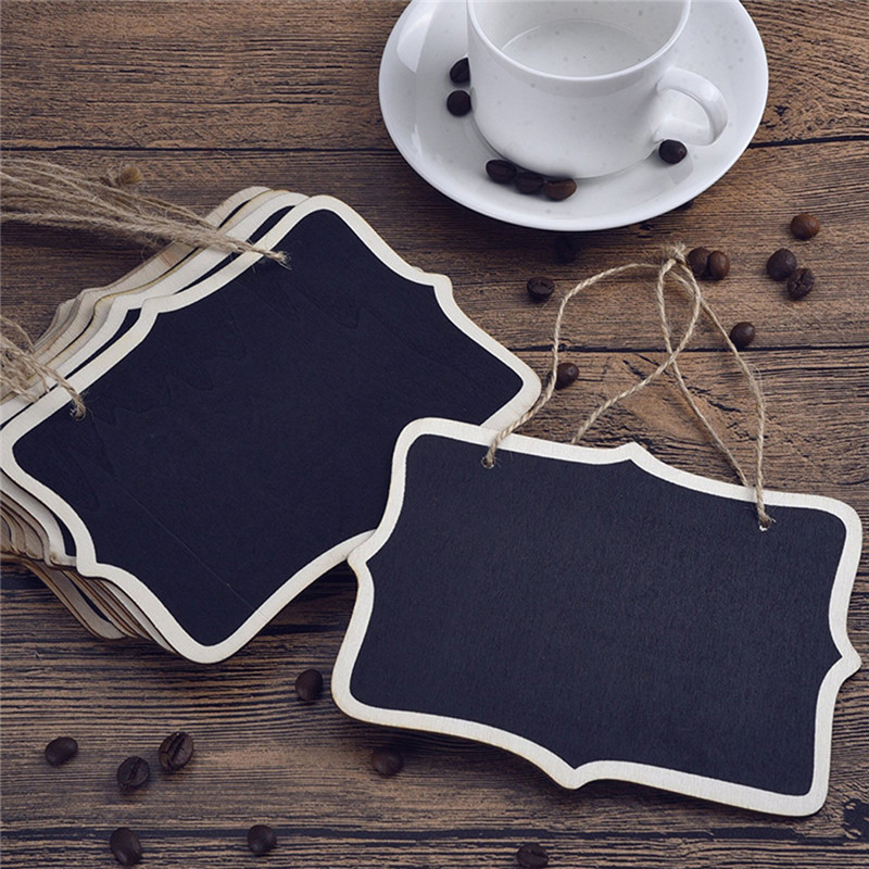 12pcs/lot Vintage Mini Wood Chalkboard Blackboard Wooden Place Card Holder Table Number For Wedding Event Party Decoration image