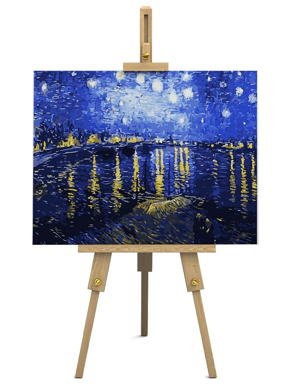 DIY pintura al óleo pintura al óleo Famosa Noche Estrellada Sobre el ...