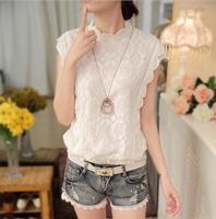 Summer Sweet White Crochet Lace Shirt O Neck Sleeveless Loose Blouse S M L XL XXL