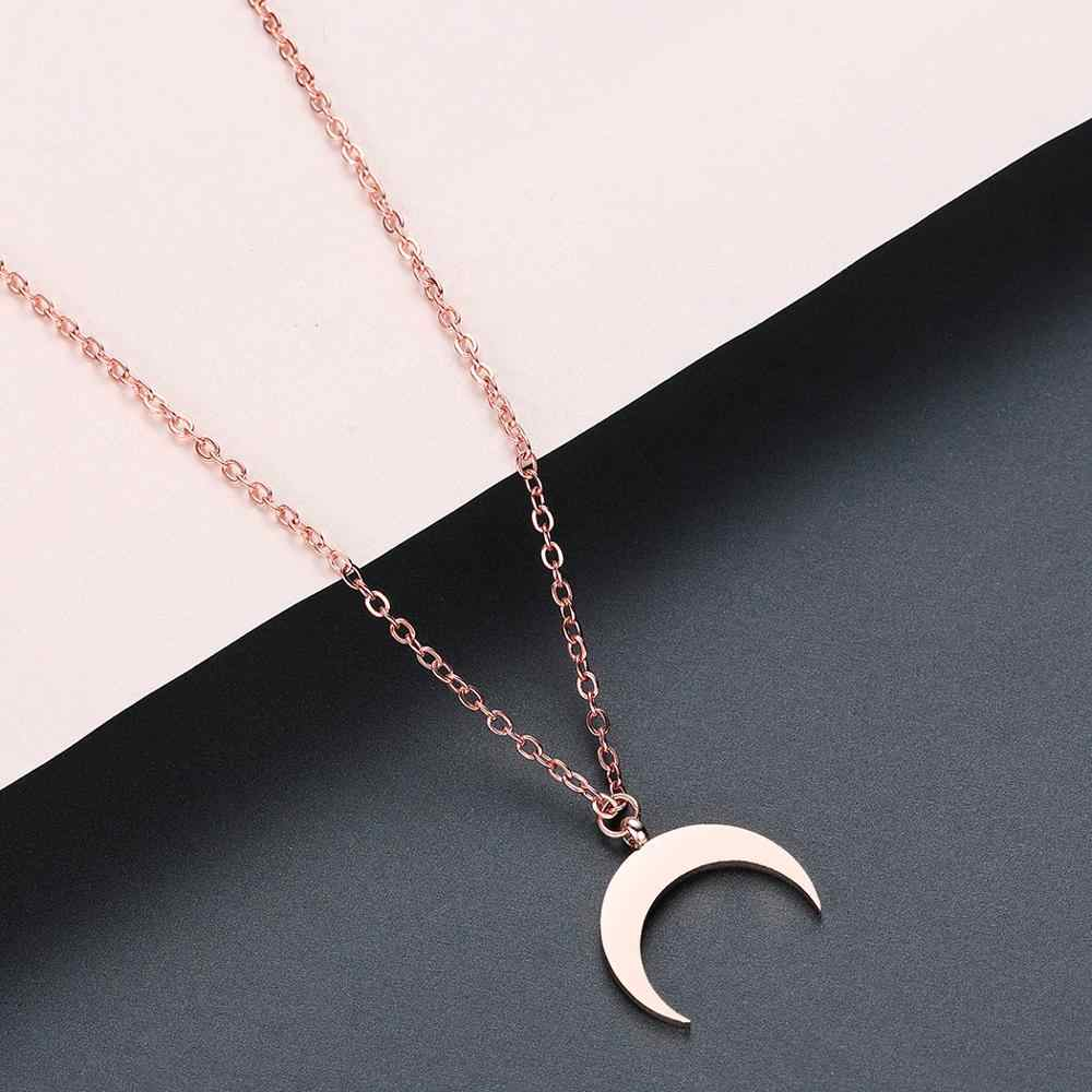 Todorova Stainless Steel Jewelry OX Horn Pendant Necklace Crescent Moon Necklace Gifts for Women Femme Collare Mujer Bijoux