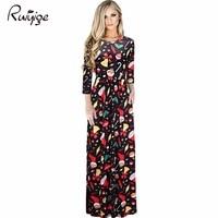 2017 New Women Floral Print Long Sleeve Boho Dress Ladies Party Long Maxi Dress Ice Silk