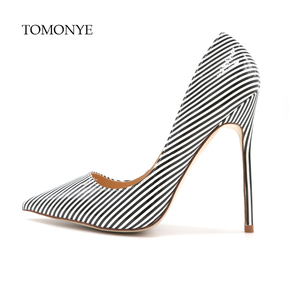 Free shipping black wite stripe shallow pointed toe women ladies spring autumn summer 12cm high heel