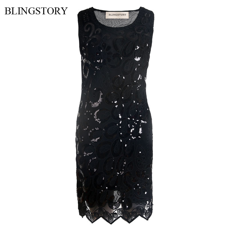 BLINGSTORY European Elegant Sequin Embroidery Women Nightclub Dresses Evening Vestidos Branco KR3064-5 ...