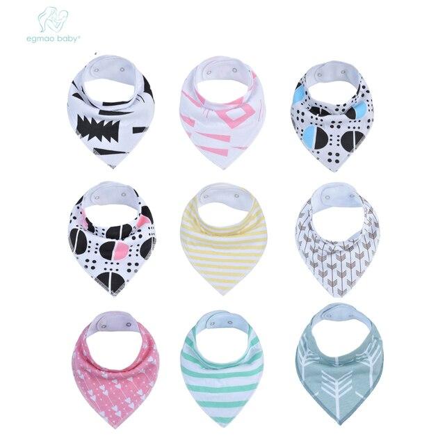 EGMAOBABY New Arrival 1pcs/lot Infant Newborn Baby Bibs,Burp Cloth CottonBaby Bandana Bibs Adjustable Baby Meal BibyBaby Bandana