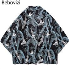 Bebovizi 2019 Streetwear Japan Ukiyo E Crane Printed Kimono Harajuku Japanese Retro Style Casual Thin Coats Men Cardigan Jackets