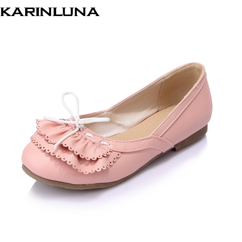 KarinLuna on sale bowtie large size 30-43 Summer Sweet Fashion women Flats Shoes Woman slip on Women Beathable Casual Shoes sweet women high quality bowtie pointed toe flock flat shoes women casual summer ladies slip on casual zapatos mujer bt123