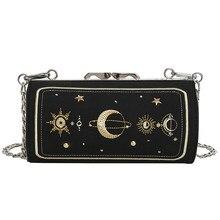 069e5aa86 Moda Bordado Padrão de Estrela Bolsa de Ombro Cilíndrico Bolsa Para  Mulheres Pu Leather Crossbody Bag