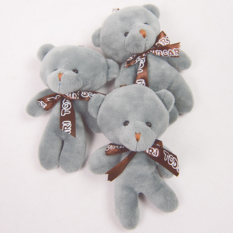 12CM Cute Bear Soft Plush Stuffed Bed Rattles Pendant Kids Doll Carttoon Bear Gift For Children Bag Key Chain Decoration