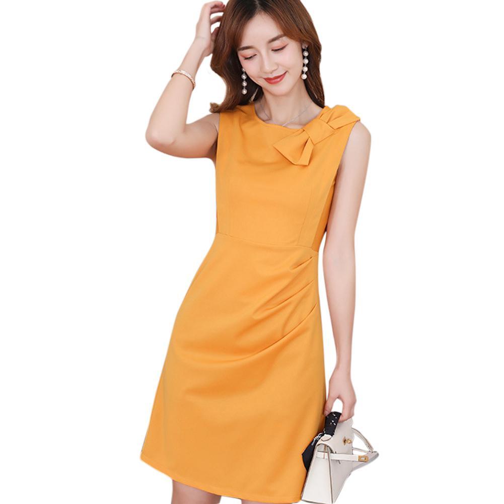 Yfashion Summer Women Dress 2019 Party Evening Sexy Solid Yellow Fashion Dresses Slim Bowknot Sleeveless