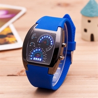 New Mens Sports Watches Silicone Strap Male Digital Wristwatch Race Speed Car Meter Dial Electronic LED