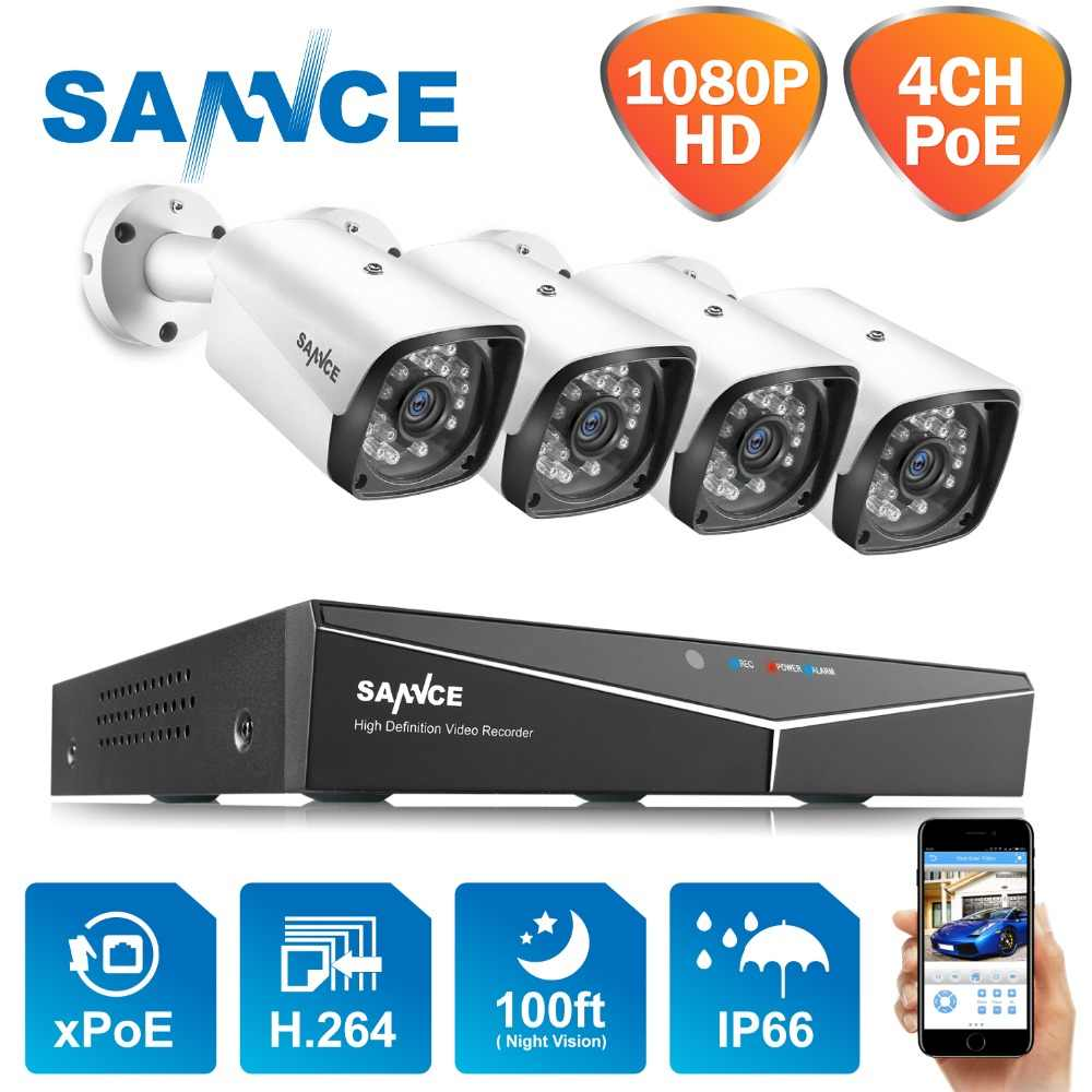 CAMERA SANNCE 4CH 1080P POE Network Video Sistema di Sicurezza 4PCS 2MP Esterna di Sicurezza IP Della Macchina Fotografica P2P Video Sistema di Sorveglianza kit CCTV