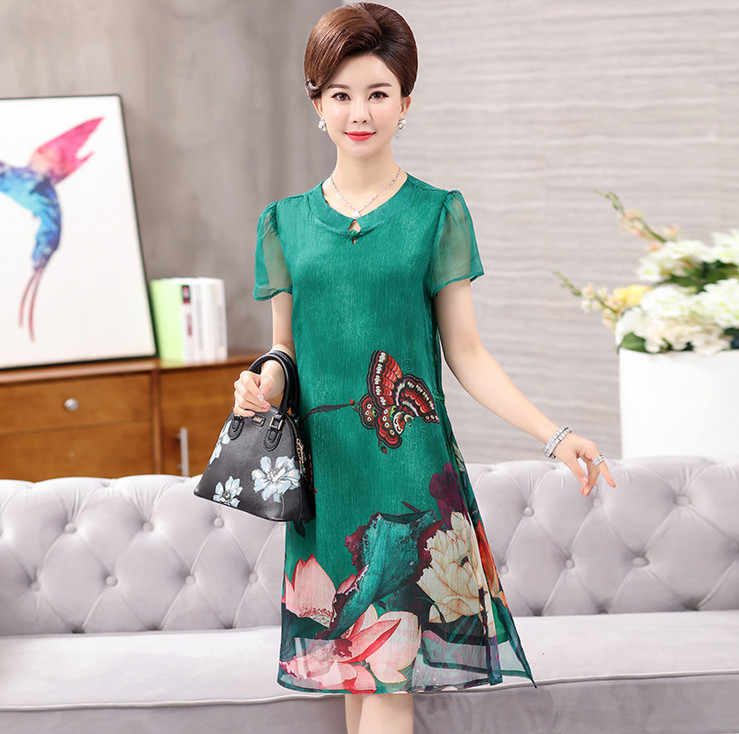 f7842d4390c ... Шелкопряда шифоновые платья 2019 новые летние среднего возраста мать большой  размеры модные корейские для женщин печатных